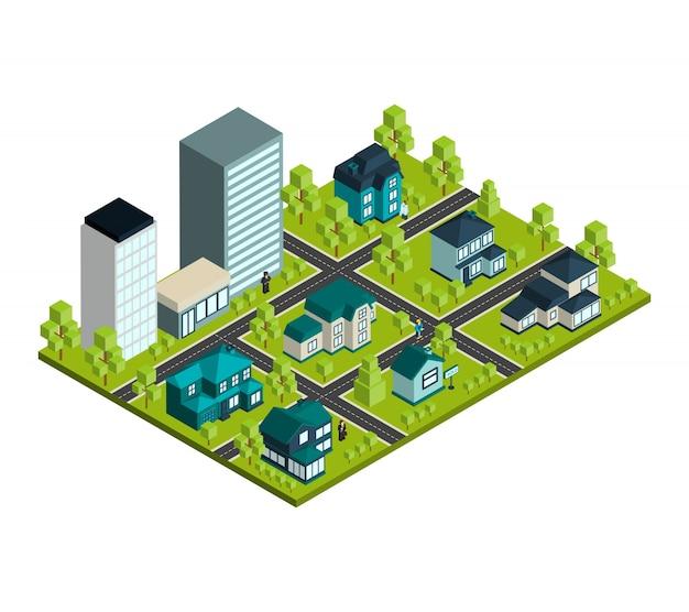 Immobilier isométrique Vecteur gratuit