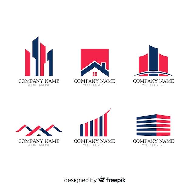 Immobilier moderne logo collectio Vecteur gratuit