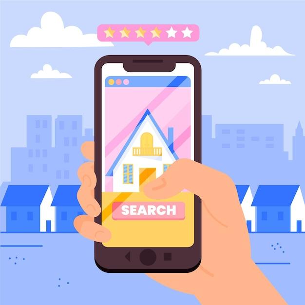 Immobilier Recherche Illustration Avec Téléphone Vecteur gratuit
