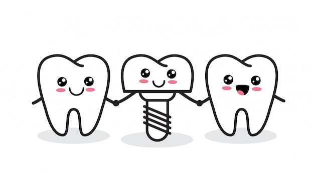 Implant Dentaire. Personnages Mignons De Dent Et D'implant Sains. Vecteur Premium