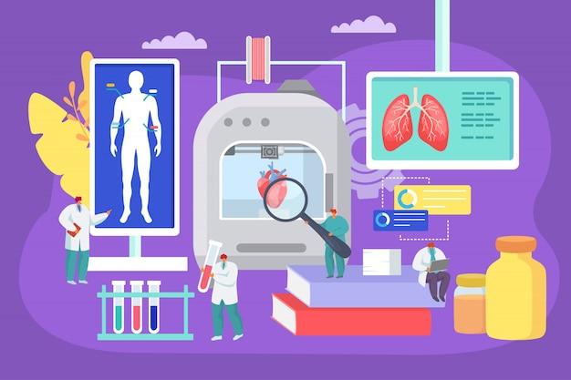 Impression 3d D'organes Humains Au Laboratoire Médical Illustration. Technologie Moderne De Bioprinter, Les Médecins Utilisent Des équipements D'innovation Vecteur Premium