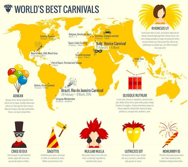Impression d'affiche de carnaval infographique Vecteur gratuit