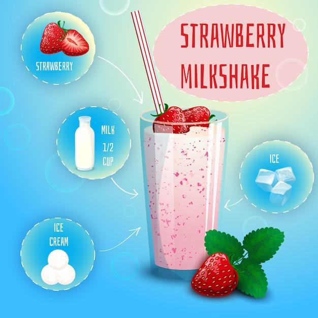 Impression d'affiche recette de milkshake à la fraise et aux fraises Vecteur gratuit