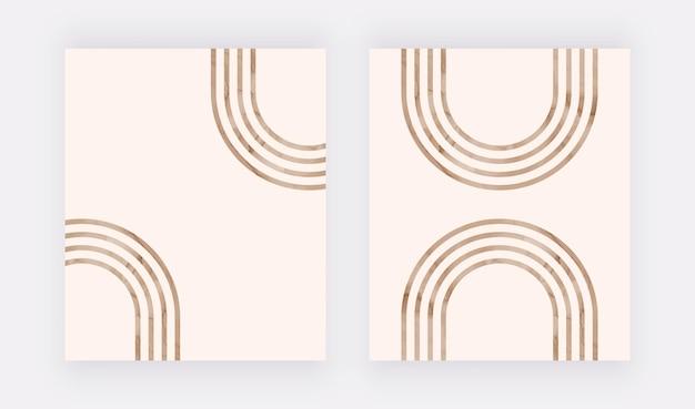 Impression D'art De Mur De Lignes Brunes. Affiches Design Boho Vecteur Premium
