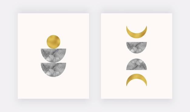 Impression D'art Mural Boho Avec De L'encre D'alcool Noir Lune Et Soleil, Texture De Feuille D'or. Vecteur Premium