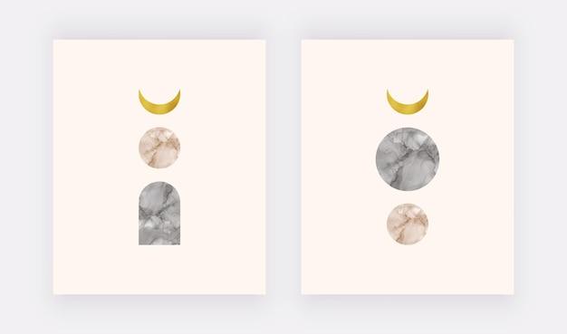 Impression D'art Mural Boho Avec Lune Feuille Dorée Et Formes D'encre Noire Et Nue à L'alcool Vecteur Premium
