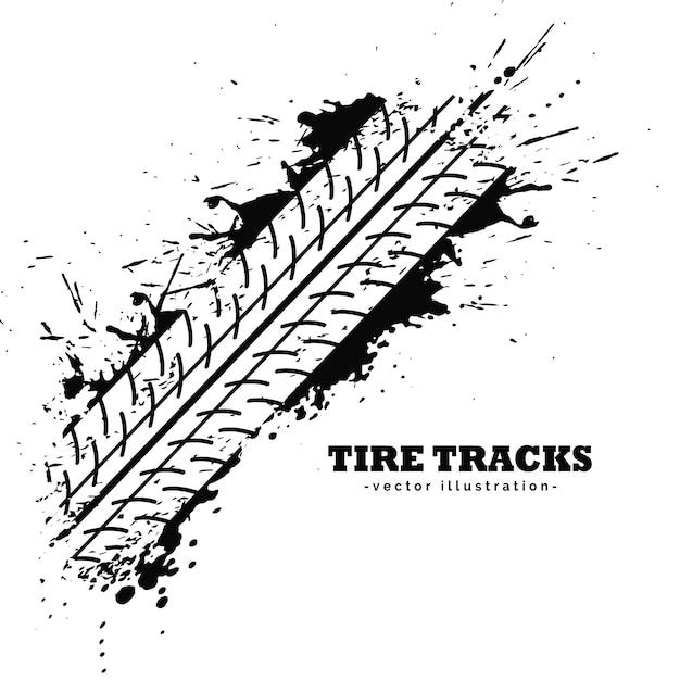 Impression de piste de pneu sur fond blanc Vecteur gratuit