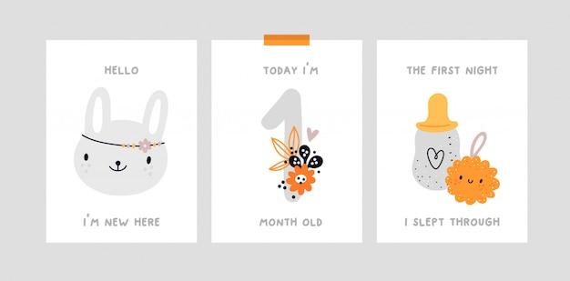 Impression De Douche De Bébé. Carte D'étape De Bébé. Carte D'anniversaire Du Mois De Bébé. Vecteur Premium