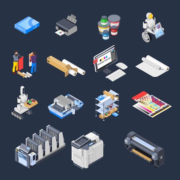 Impression D'éléments Isométriques Collection Vecteur gratuit