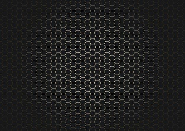 Impression De Fond Abstrait Hexagone Noir Vecteur Premium