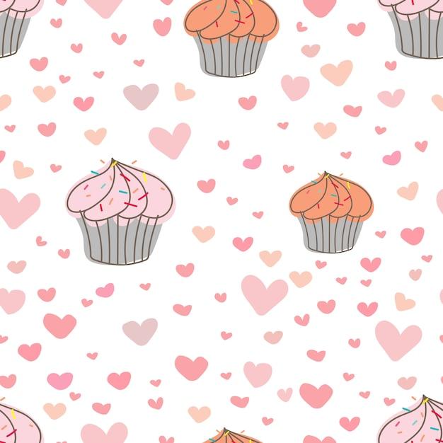Impression de fond cupcakes. Vecteur Premium