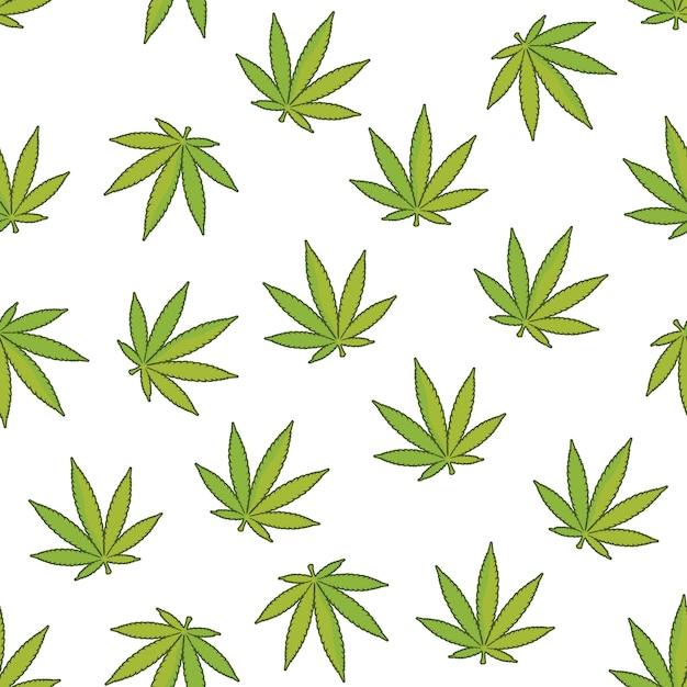 Impression De Fond Sans Couture De Chanvre Avec Des Feuilles De Marijuana Vecteur Premium
