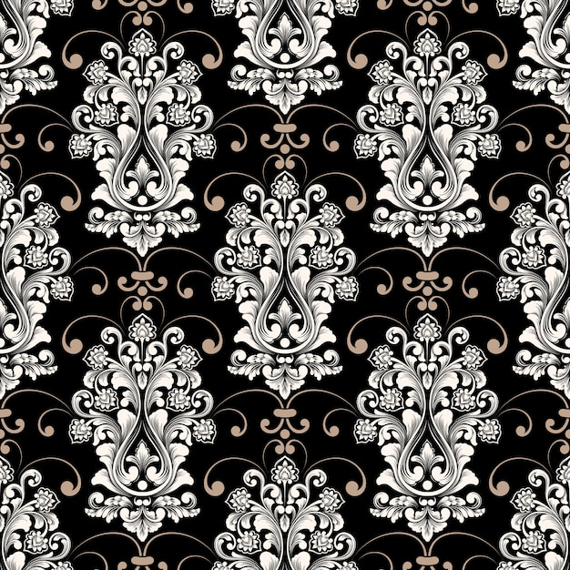 Impression De Fond Sans Couture Damassé De Vecteur. Ornement Damassé à L'ancienne De Luxe Classique, Texture Transparente Victorienne Royale Pour Papiers Peints, Textile, Emballage. Modèle Baroque Floral Exquis. Vecteur gratuit