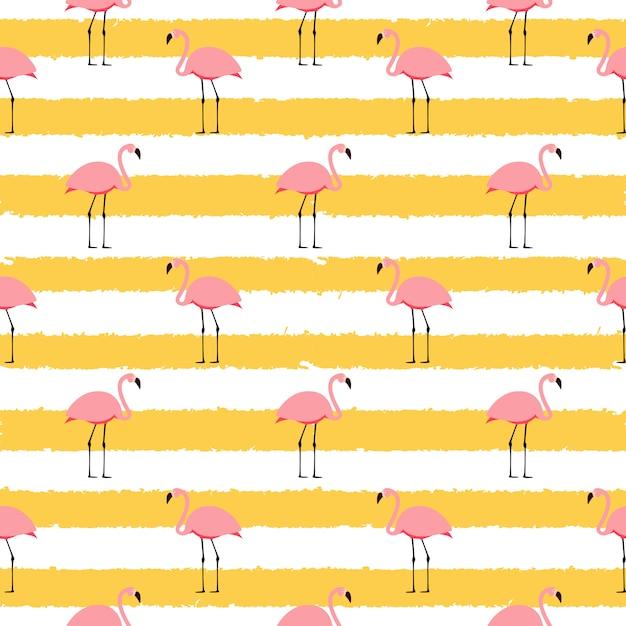 Impression De Fond Sans Couture De Flamant Rose D'été. Illustration Vecteur Premium