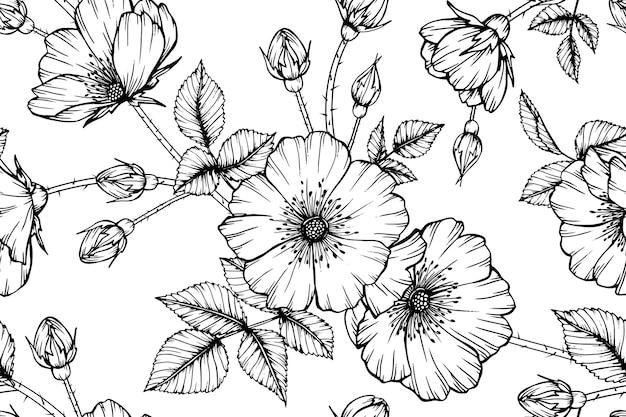 Impression de fond transparente fleur rose. Vecteur Premium