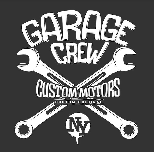Impression De Garage, Graphique De Clés Croisées. Vecteur Premium