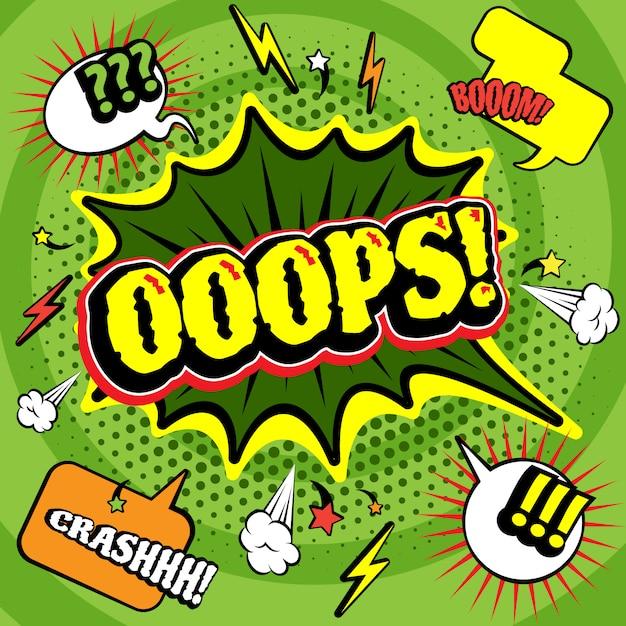 Impression de grandes affiches de bandes dessinées en forme de bulle oops vert avec des exclamations éclair et crash-boom Vecteur gratuit