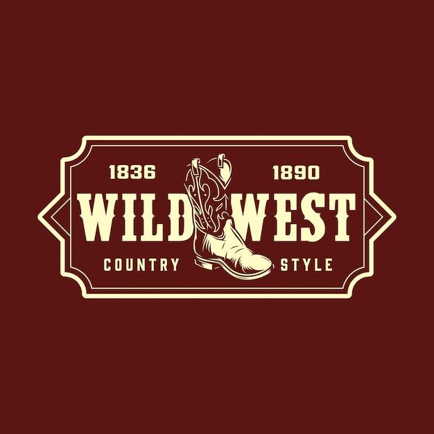 Impression Monochrome Vintage Far West Vecteur Premium