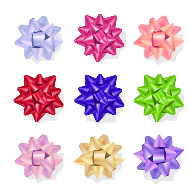 Impression de papier cadeau cadeau étoiles colorées arcs étoiles Vecteur Premium