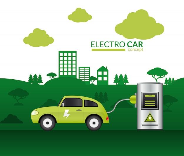 Impression de voiture électrique Vecteur gratuit