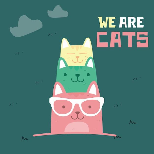 Impressionnant doodle rétro dessinant des chats mignons. style enfants Vecteur Premium