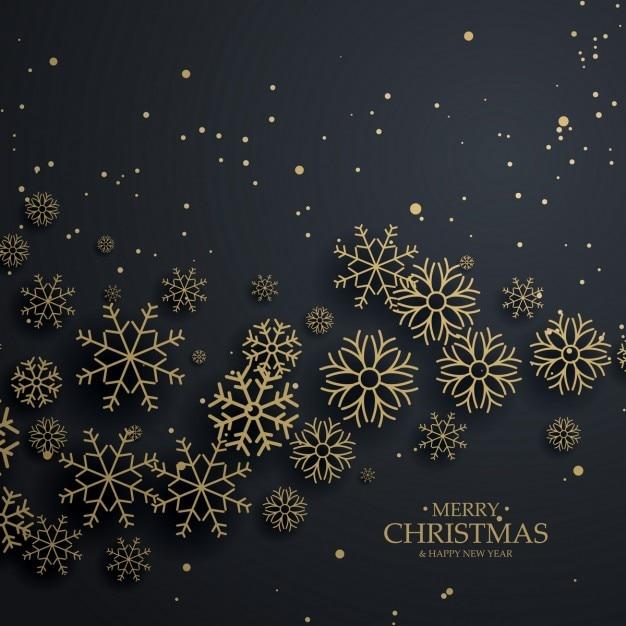 Impressionnant fond noir avec des flocons de neige d'or pour joyeux noël Vecteur gratuit