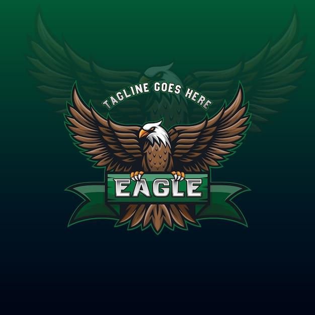 Impressionnant Logo De Mascotte D'aigle Volant Pour Le Modèle D'identité De Conception Communautaire Ou Sportive Vecteur Premium