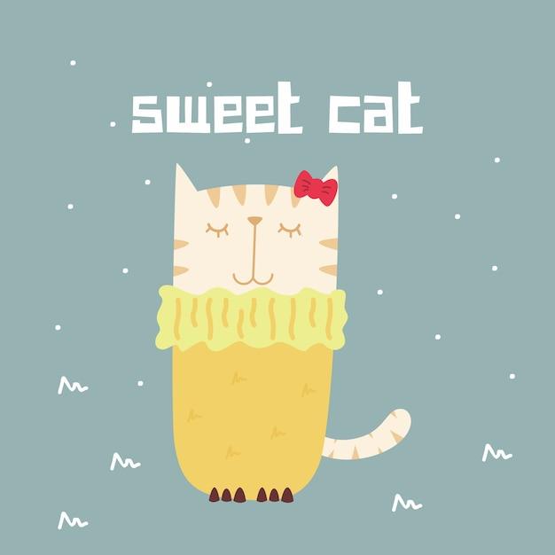Impressionnant rétro doodle mignon chat doux Vecteur Premium