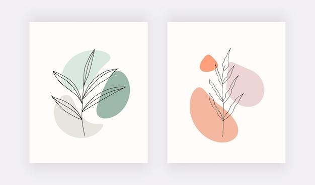 Impressions D'art Mural Botanique Avec Des Formes Et Des Feuilles Noires. Vecteur Premium