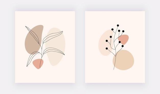 Impressions D'art Mural Botanique En Ligne Avec Des Formes Brunes Et Des Feuilles Noires. Vecteur Premium