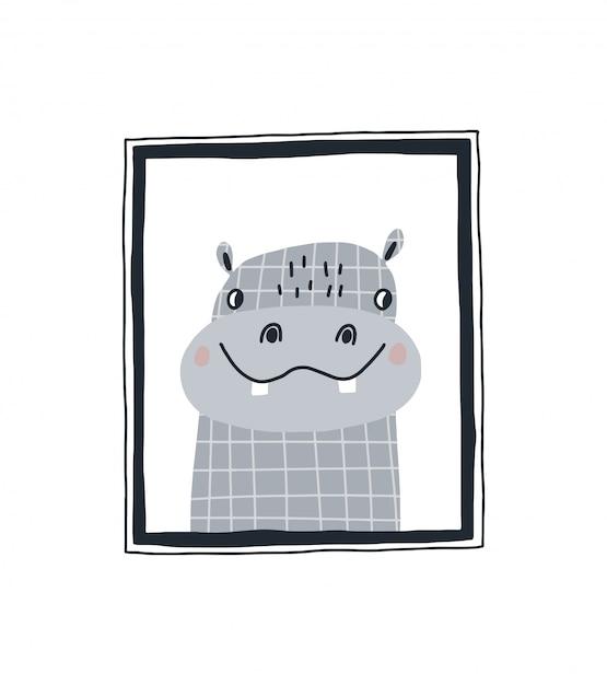 Imprimé bébé avec un mignon hippopotame dans le cadre. illustration vectorielle dessinés à la main dans la conception de style scandinave pour les enfants. Vecteur Premium
