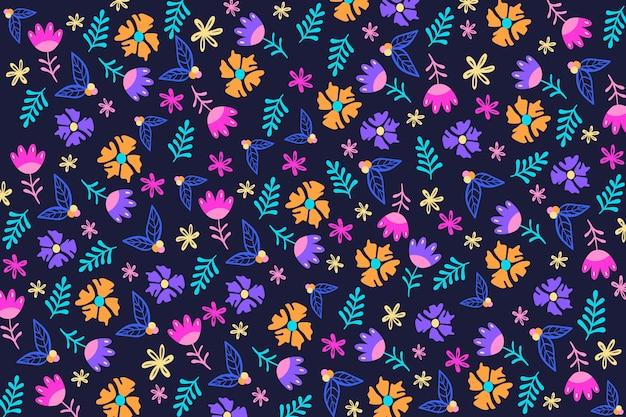 Imprimé Floral Coloré Sur Fond Bleu Foncé Vecteur gratuit
