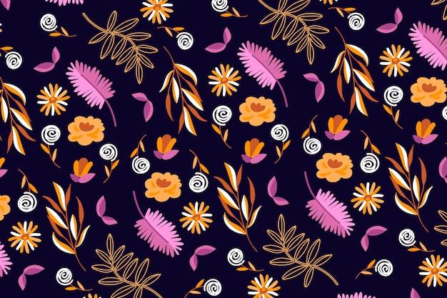 Imprimé Floral Ditsy Coloré Sur Fond Sombre Vecteur gratuit