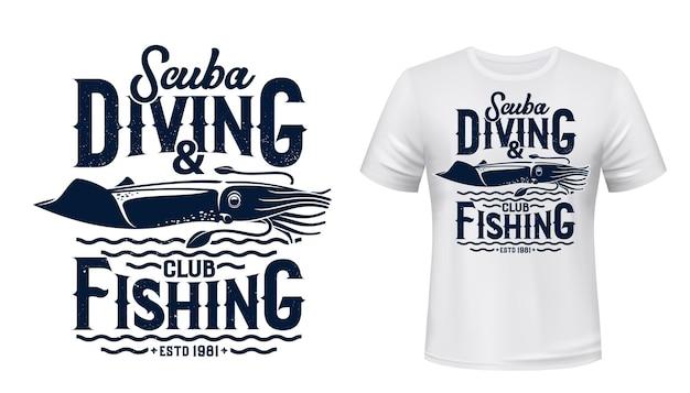 Imprimé T-shirt De Club De Plongée Et De Pêche. Vecteur Premium