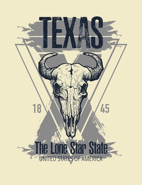 Imprimé T-shirt Texas Buffalo Vecteur Premium