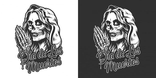 Imprimé Vintage Dia De Los Muertos Vecteur gratuit