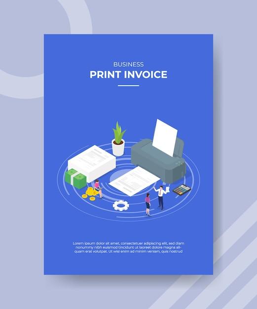 Imprimer Les Gens De Concept De Facture Autour De La Calculatrice De Papier De Grande Machine D'impression Vecteur gratuit