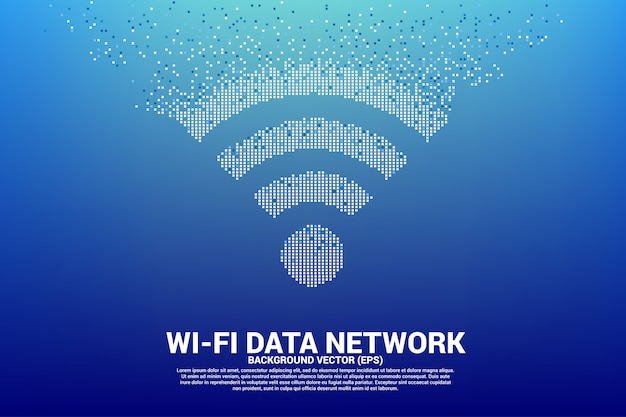 Imprimer l'icône de réseau de données mobiles polygon wi-fi à partir de pixels. Vecteur Premium