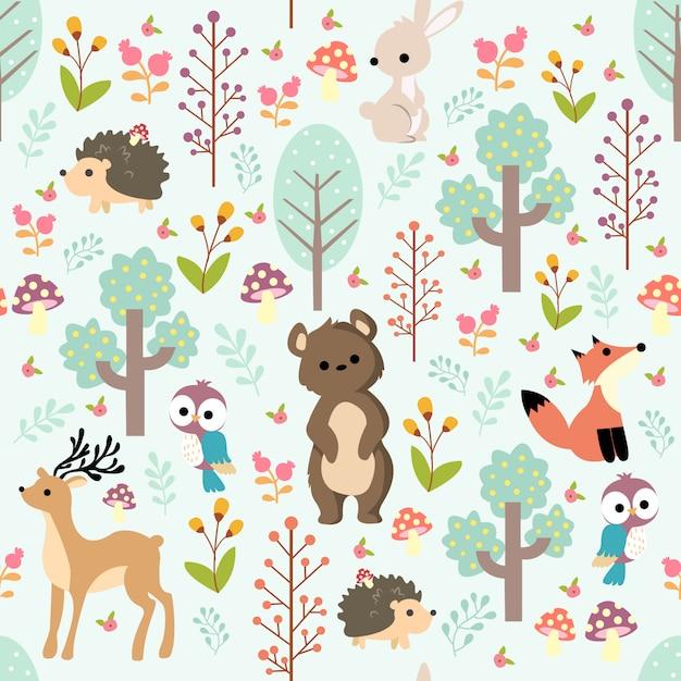 Imprimer un motif bébé animal Vecteur Premium