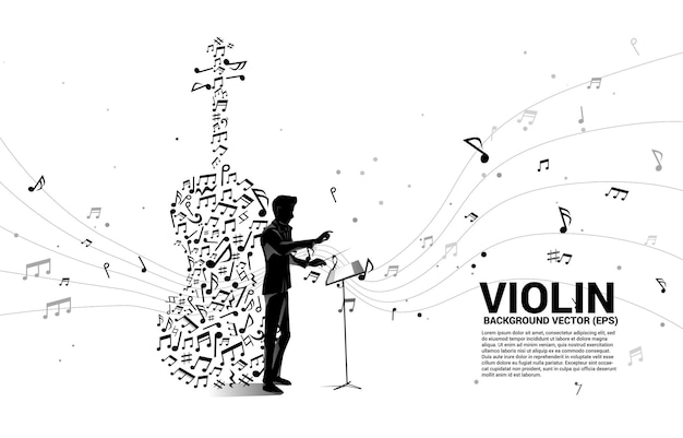 Imprimer La Silhouette De La Main Du Chef D'orchestre Avec L'icône De Violon De Forme De Flux De Danse Note De Mélodie De Musique. Vecteur Premium