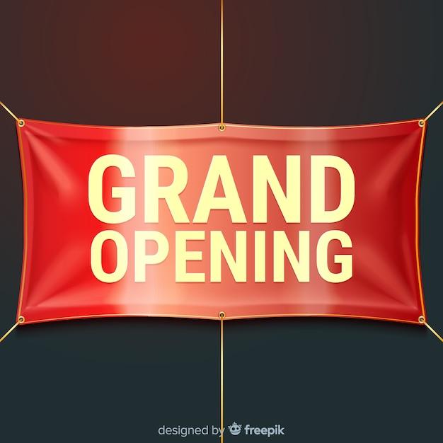 Inauguration officielle avec bannière textile réaliste Vecteur gratuit