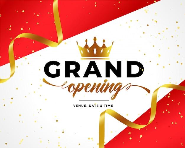 Inauguration officielle fond avec des confettis et une couronne dorés Vecteur gratuit