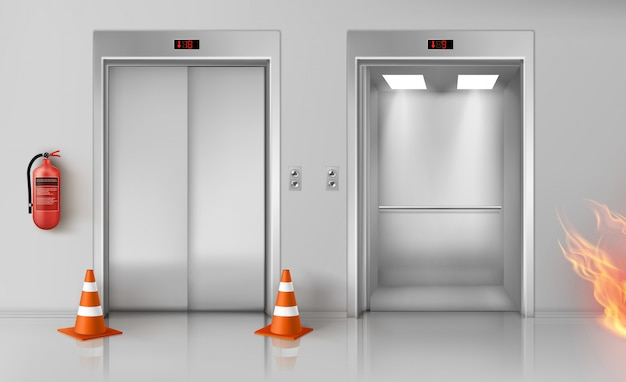 Incendie Dans Le Couloir, Les Portes D'ascenseur Et L'extincteur Vecteur gratuit
