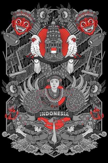 Incroyable Culture De L'illustration De L'indonésie Dans Un Cadre Vintage Vecteur Premium