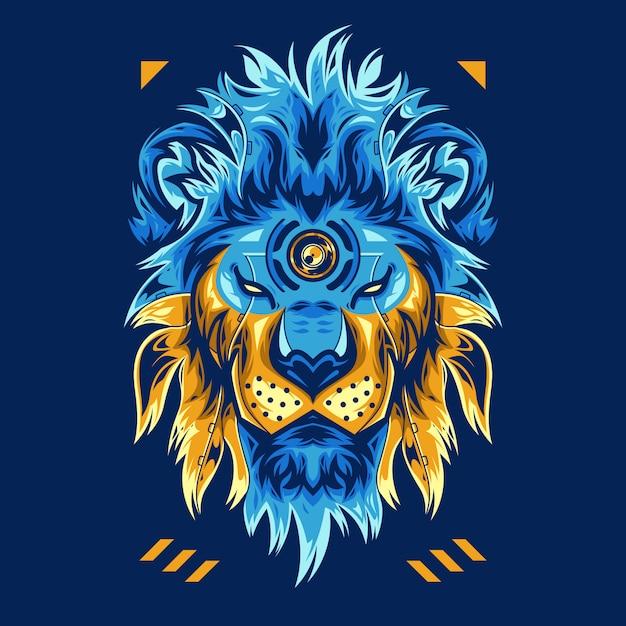 Incroyable Illustration Vectorielle Tête De Lion Sur Fond Bleu Vecteur Premium