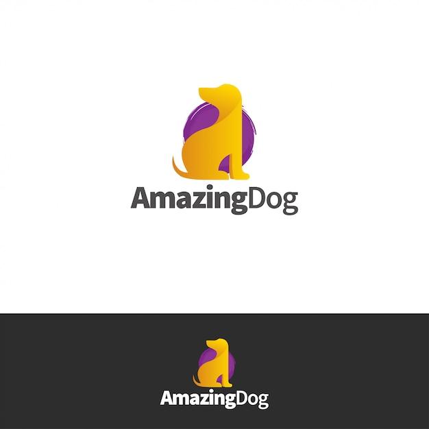 Incroyable logo de chien Vecteur Premium