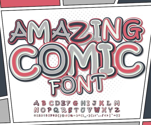 Incroyable police de bande dessinée rose et gris sur la page de livre de bandes dessinées. alphabet drôle de lettres et de chiffres Vecteur Premium