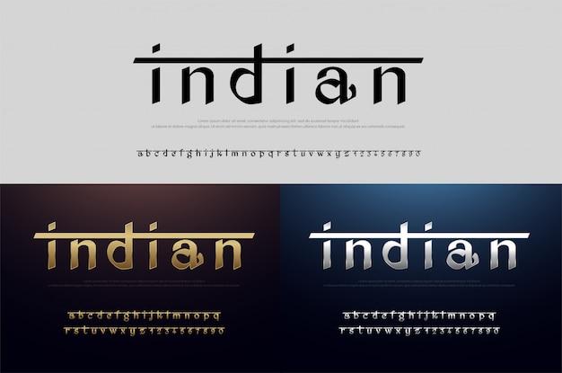 Inde alphabet fonte des polices d'argent et d'or. indien moderne Vecteur Premium