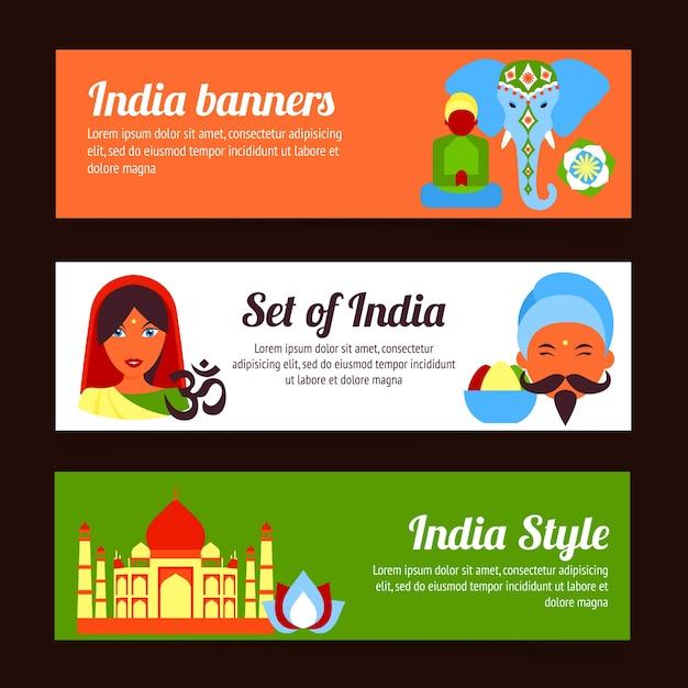 Inde bannières collection Vecteur gratuit