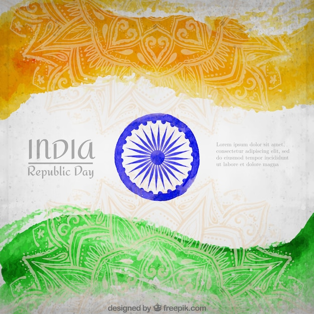 Inde république drapeau day background Vecteur gratuit